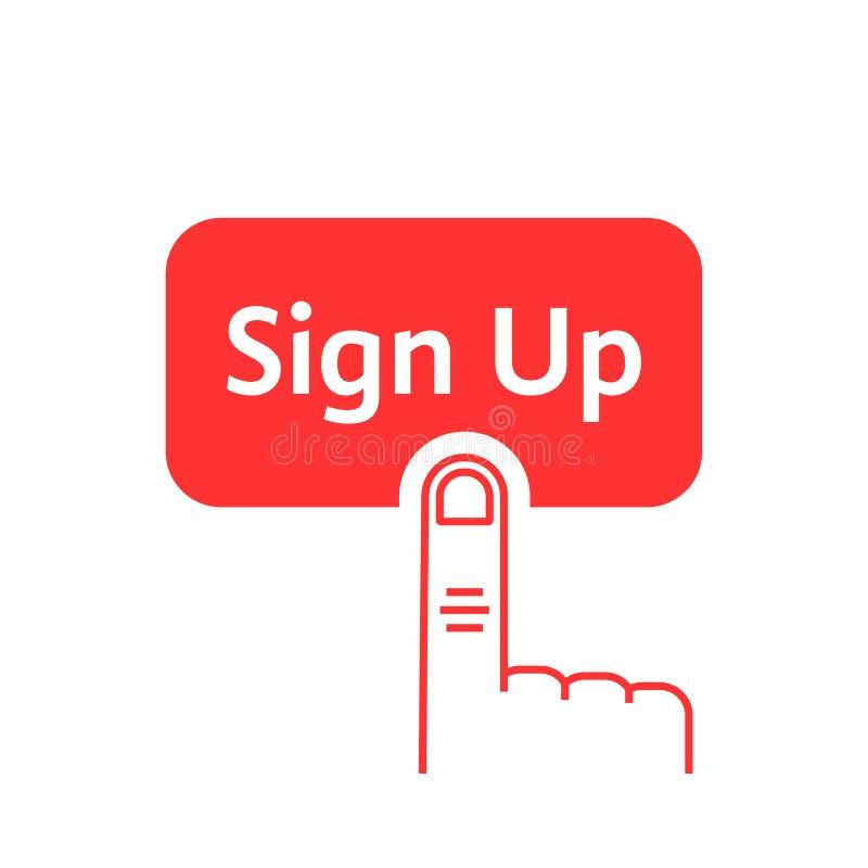 Las prensas lineares rojas del finger encendido firman para arriba el botón stock de ilustración