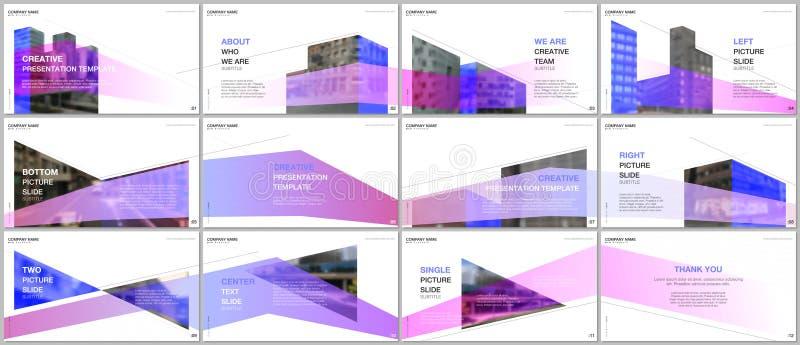 Las presentaciones diseñan, las plantillas del vector de la cartera con diseño de la arquitectura Fondo arquitectónico moderno ab ilustración del vector