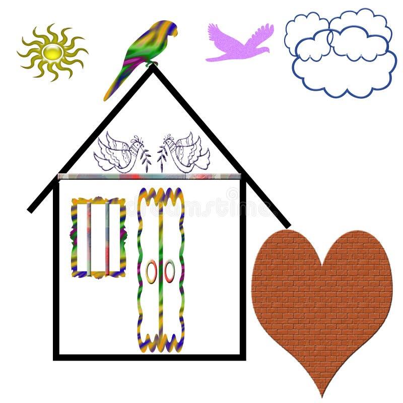 Las propiedades inmobiliarias agradables hacen por esfuerzo del pájaro libre illustration