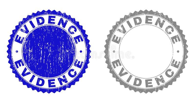 Las PRUEBAS del Grunge texturizaron sellos stock de ilustración