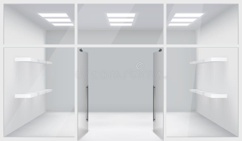 Las puertas abiertas del espacio realista de Front Store Shop 3d dejan de lado el ejemplo del vector del fondo de la maqueta de l libre illustration