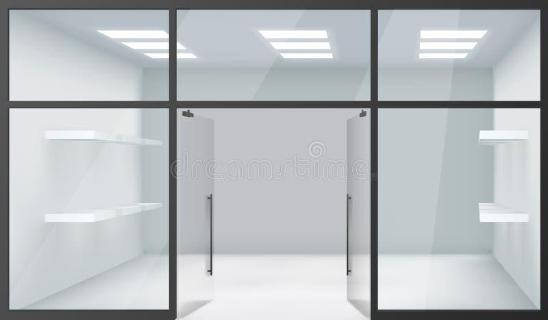 Las puertas abiertas del espacio realista interior vacío de Front Store 3d Windows de la tienda dejan de lado vector del fondo de stock de ilustración