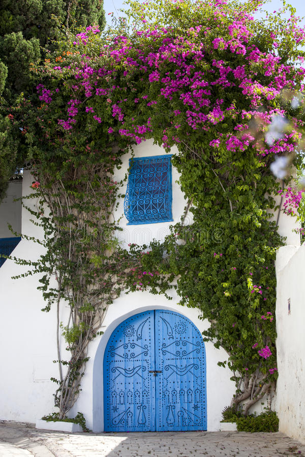 Las puertas azules y la pared blanca de Sidi Bou dijeron, Túnez imagen de archivo libre de regalías