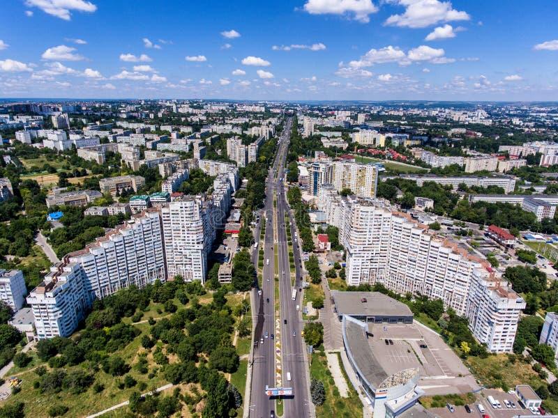 Las puertas de la ciudad de Chisinau, República del Moldavia, visión aérea foto de archivo libre de regalías