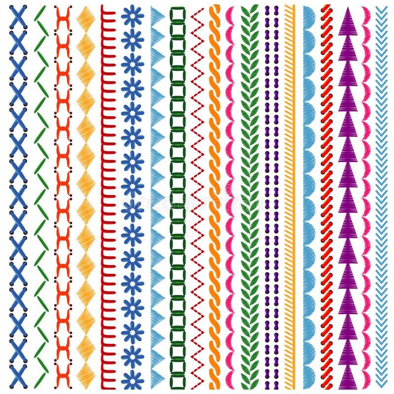 Las puntadas del bordado vector modelos inconsútiles y las fronteras fijados ilustración del vector
