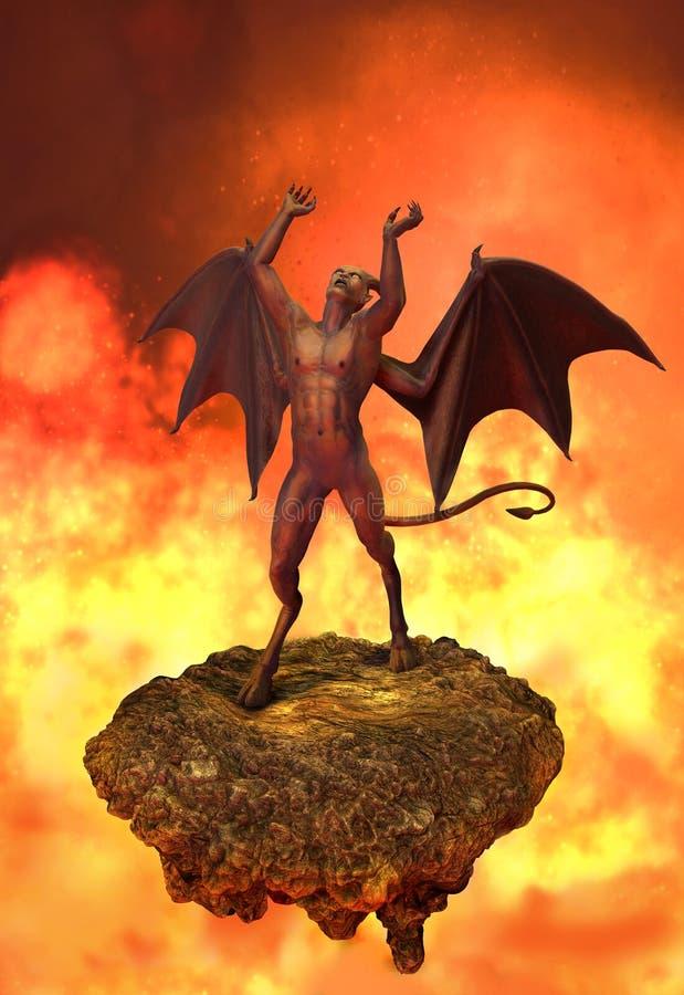 Las rabias del diablo en infierno ilustración del vector