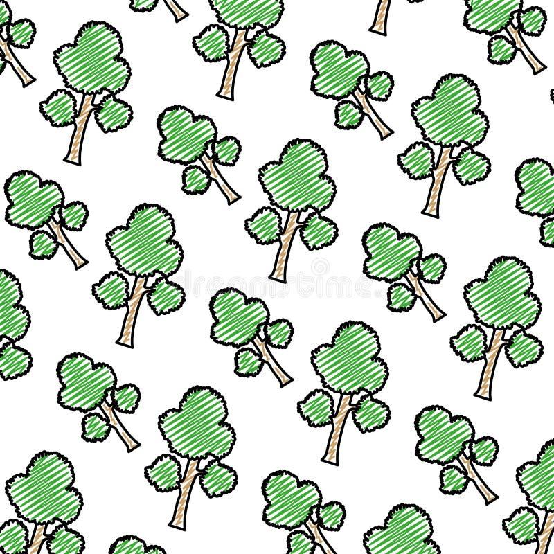 Las ramas de árbol exóticas del garabato salen del fondo ilustración del vector