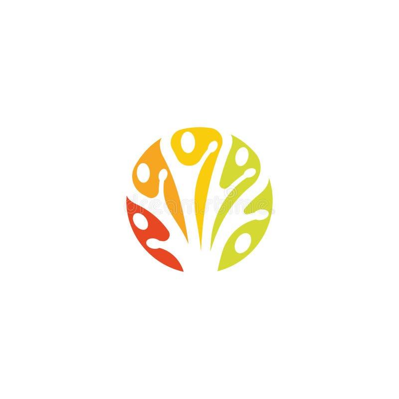 Las ramas de árbol, muestra del cuidado de la naturaleza, logotipo creativo, unidad de la gente, icono abstracto, vector redondo  libre illustration