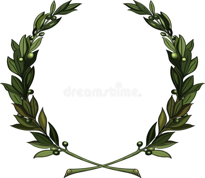 Las ramas de olivo enrruellan stock de ilustración