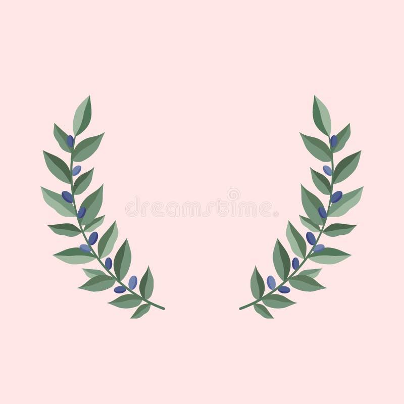Las ramas de olivo negras enrruellan en un fondo del rosa del polvo Capítulo de las hojas verdes olivas Elemento heráldico del di stock de ilustración
