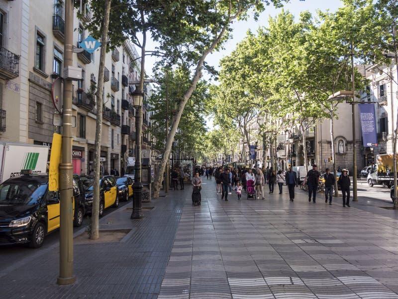 Las Ramblas av Barcelona, Spanien arkivbild