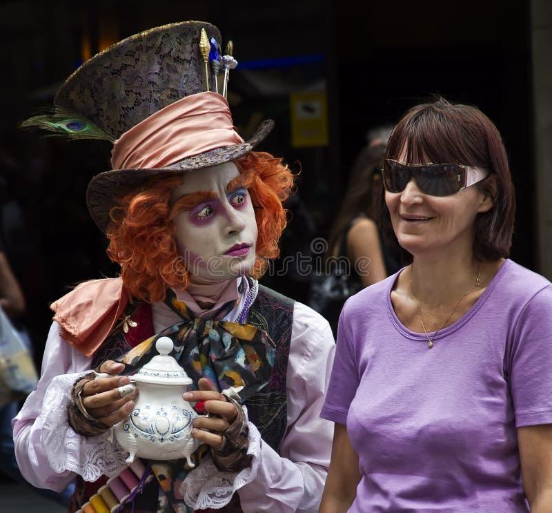 Las Ramblas de pantomime, Barcelone photos libres de droits