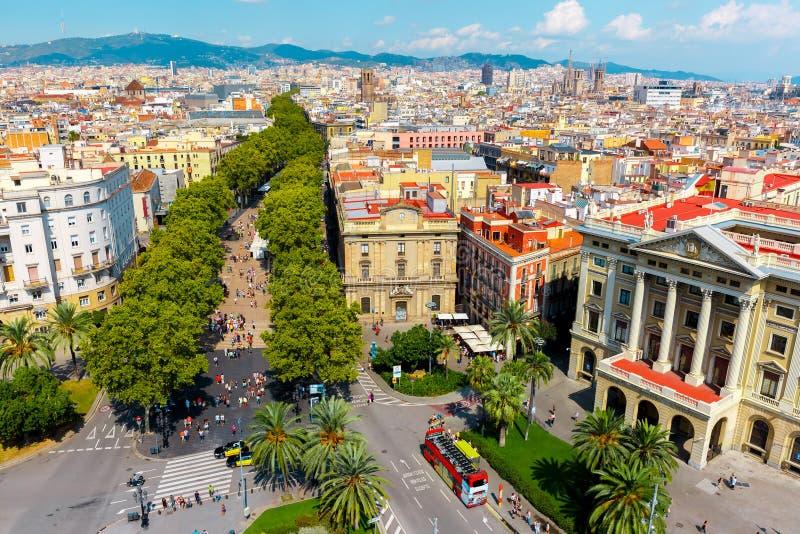Las Ramblas i Barcelona, Catalonia, Spanien royaltyfri fotografi