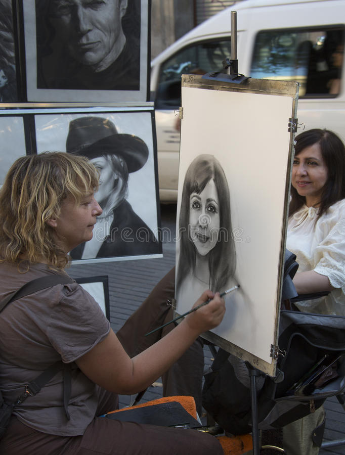 Las Ramblas Street Artist - Barcelona - Spain stock image