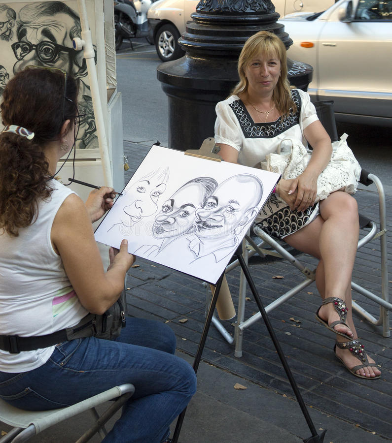 Las Ramblas Street Artist - Barcelona - Spain royalty free stock images