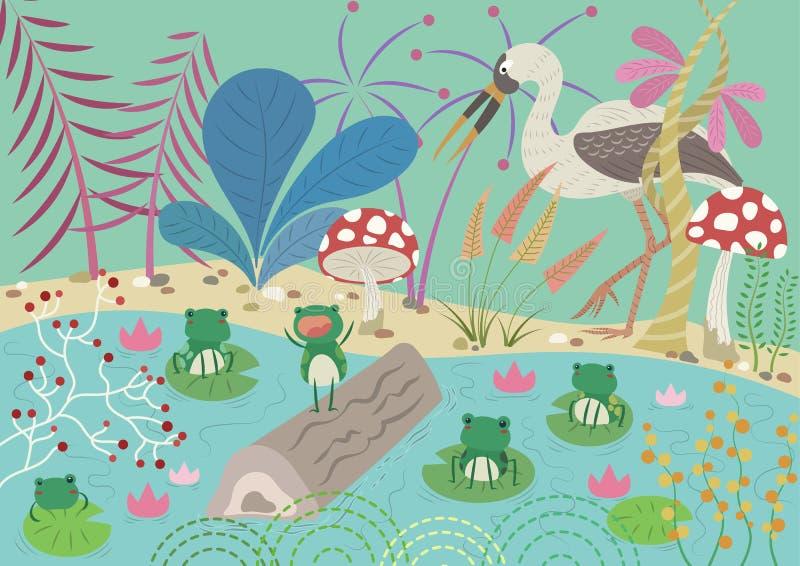 Las ranas que desearon a un rey stock de ilustración