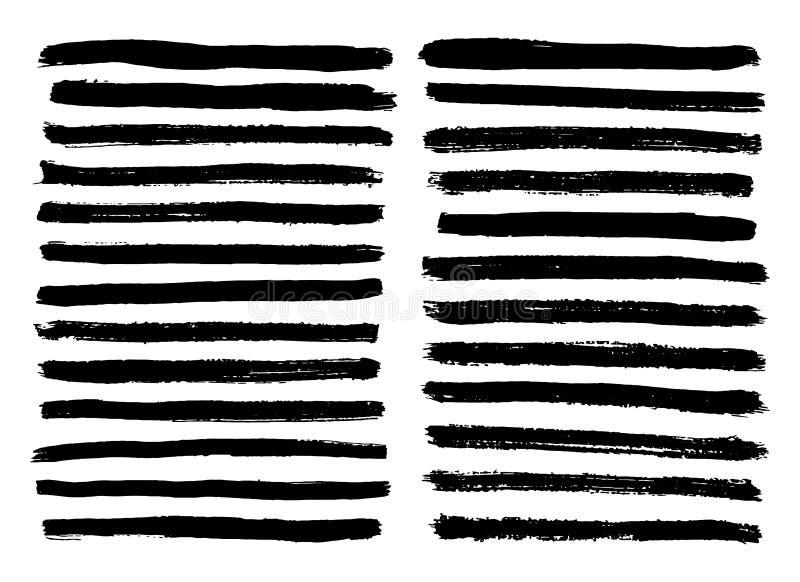 Las rayas blancos y negros fijaron aislado en el vector blanco del fondo stock de ilustración