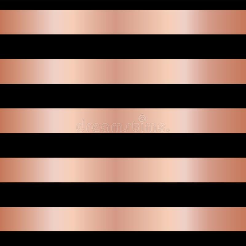 Las rayas color de rosa de la hoja de oro del cobre en vector inconsútil negro modelan el fondo Líneas brillantes metálicas horiz libre illustration