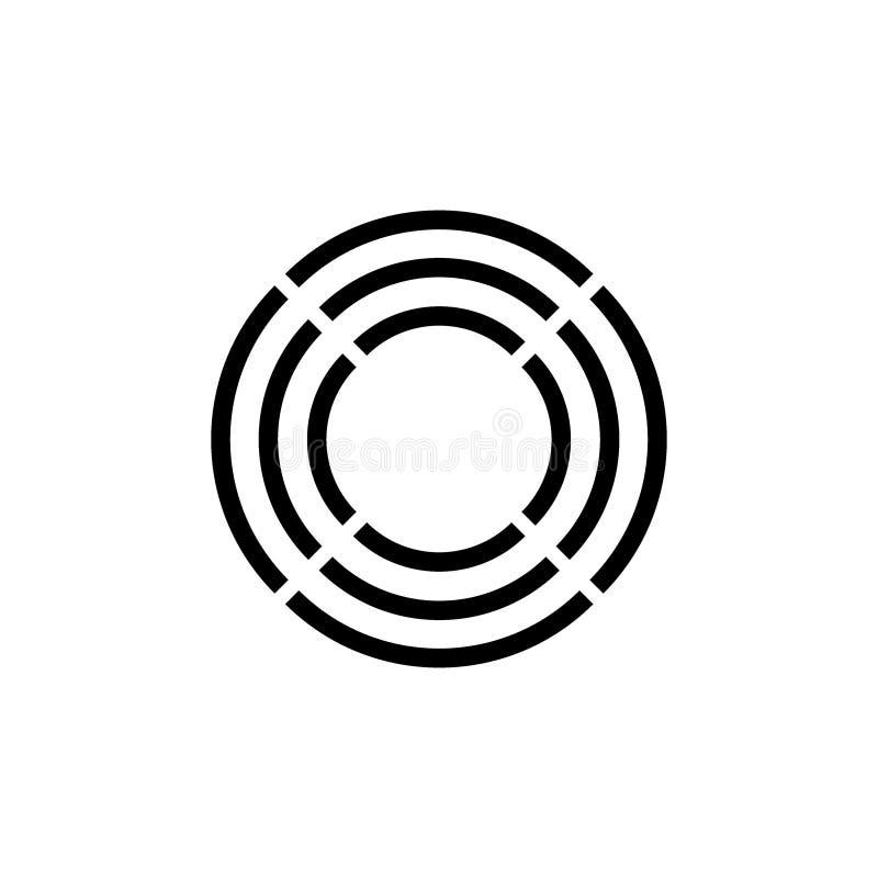 Las rayas del círculo trazan vector del logotipo del diseño stock de ilustración