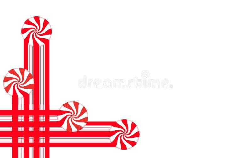 Las rayas del caramelo y el caramelo de hierbabuena hacen las fronteras y los elementos gráficos de la Navidad para una disposici ilustración del vector