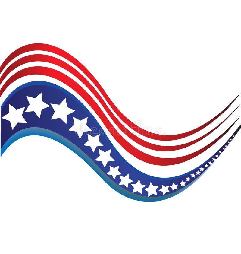 Las rayas del logotipo de la bandera de la estrella de los E.E.U.U. diseñan el icono del vector de los elementos stock de ilustración