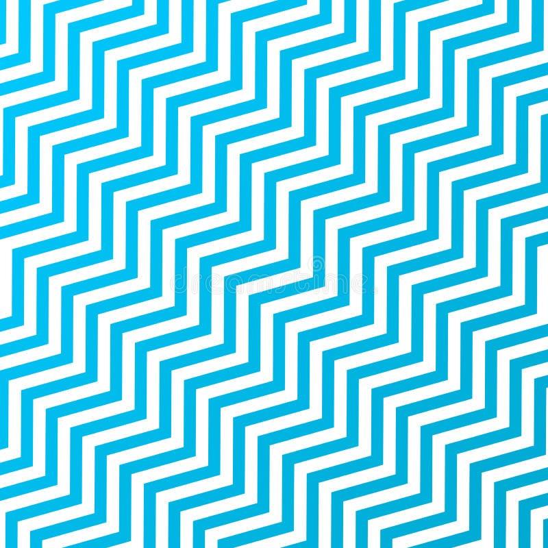 Las rayas diagonales de entrelazamiento inconsútiles del azul y blancas del zigzag texturizan el fondo ilustración del vector