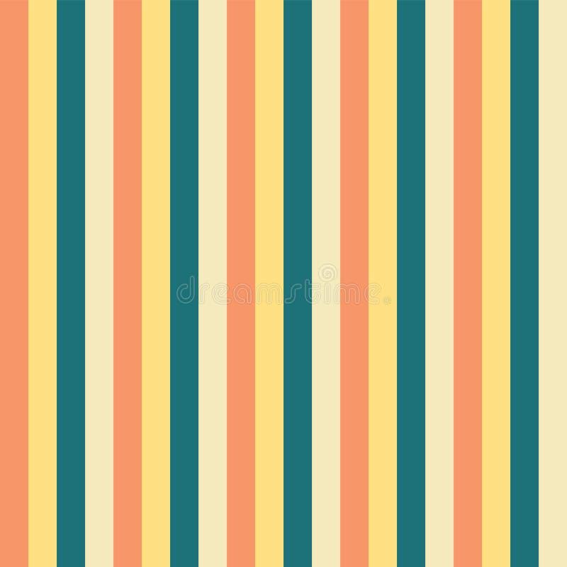 Las rayas verticales amarillean el modelo azul del melocotón del trullo Fondo inconsútil rayado del vector de la vertical Grande  libre illustration