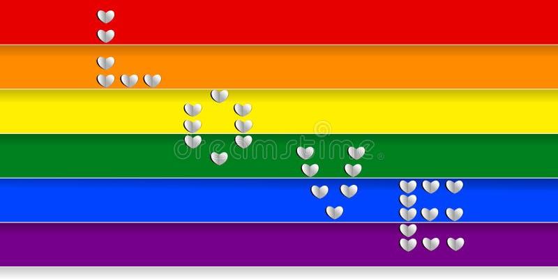 Las rayas y el ` coloridos del arco iris AMAN el ` creado de formas del corazón; estilo de papel del arte Vector la ilustración,  ilustración del vector