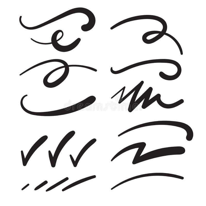 Las redadas de los Swashes de los silbidos Swooshes los garabatos, y los Squiggles para el énfasis de la tipografía ilustración del vector