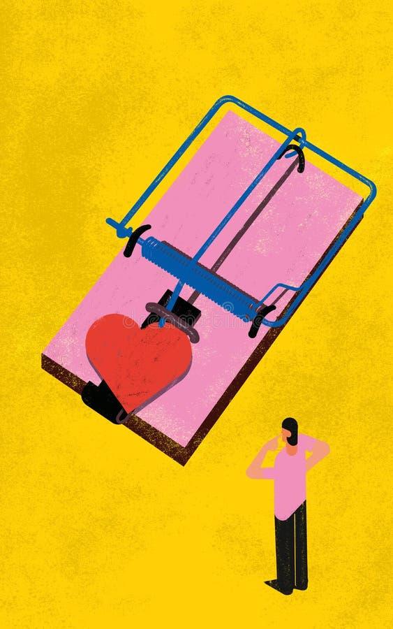 Las relaciones sicológicas de la fobia del compromiso publican ilustración del vector
