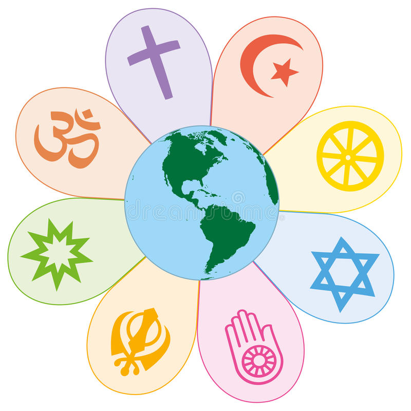 Las religiones del mundo unieron símbolo de la flor de la paz ilustración del vector