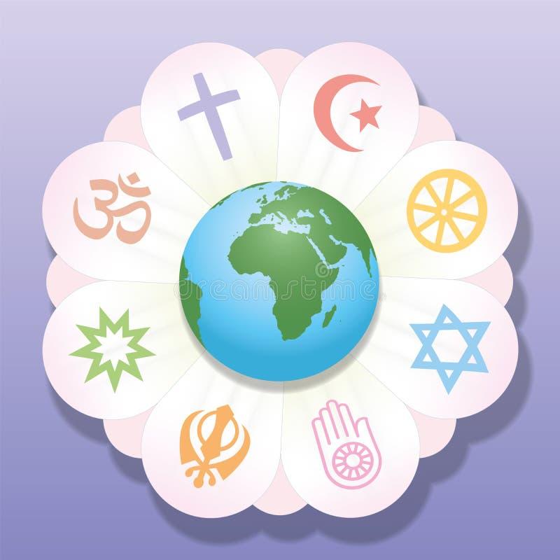 Las religiones unieron símbolos de paz de la flor del mundo ilustración del vector