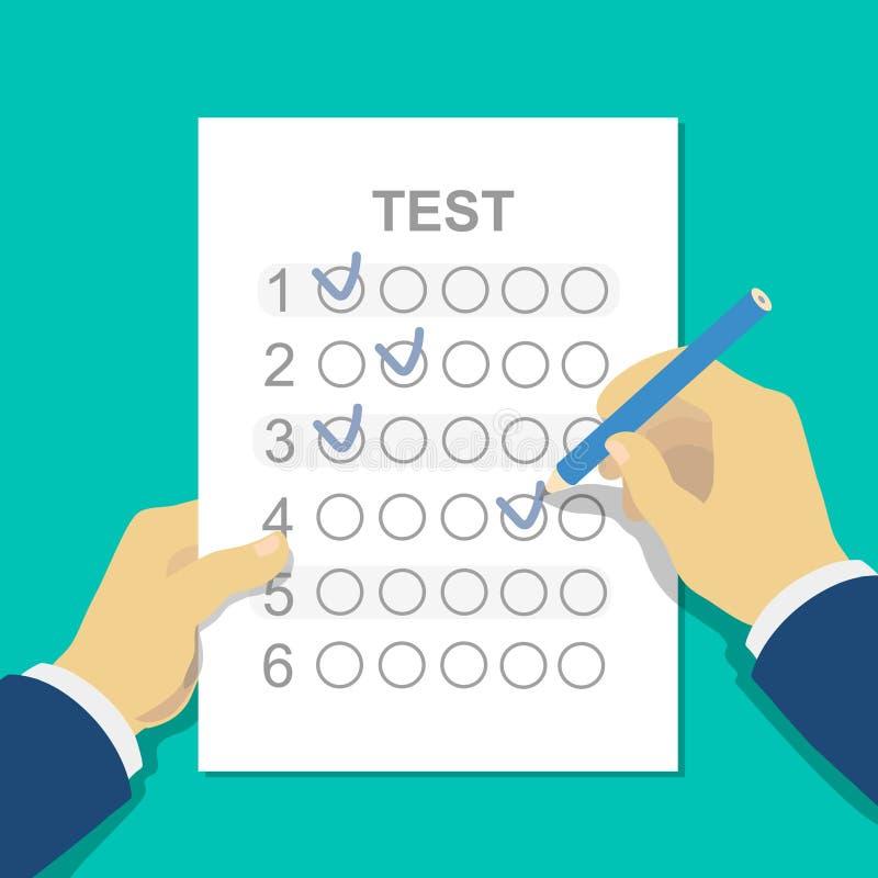 Las respuestas al examen prueban la hoja de respuesta con el lápiz stock de ilustración