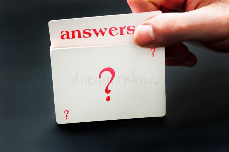 Tarjeta de las respuestas imagen de archivo