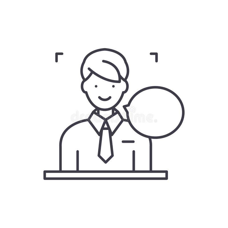 Las respuestas en preguntas alinean concepto del icono Respuestas en el ejemplo linear del vector de las preguntas, símbolo, mues stock de ilustración
