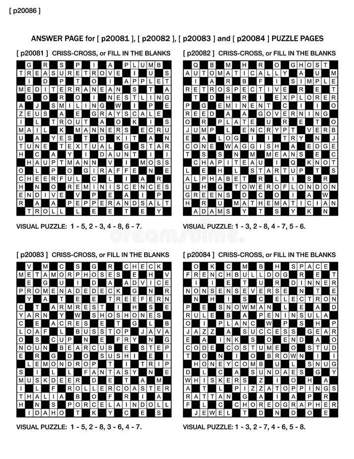 Las respuestas para el rompecabezas paginan p20081, p20082, p20083, p20084 ilustración del vector