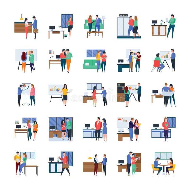 Las reuniones de negocios, discusiones, obras en fase de creación, los ejemplos planos embalan stock de ilustración