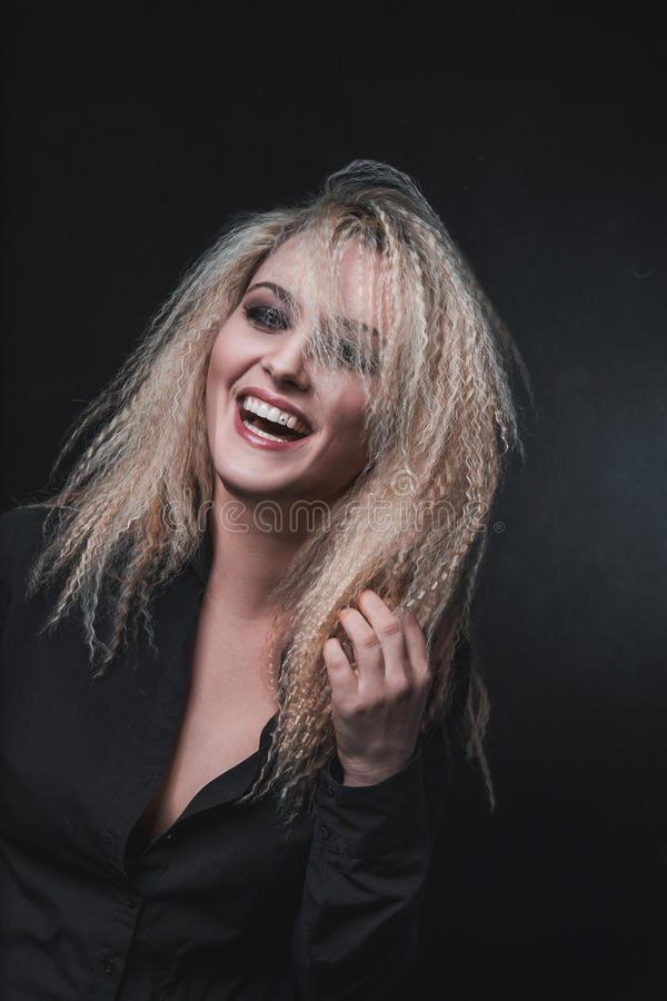 Las risas del blonde imágenes de archivo libres de regalías