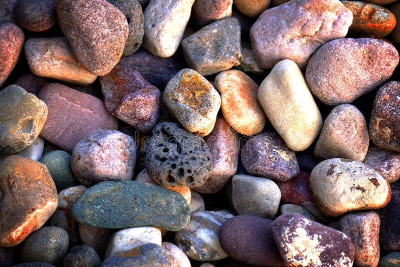 Las rocas alisan las piedras del río para la decoración y ajardinar imágenes de archivo libres de regalías