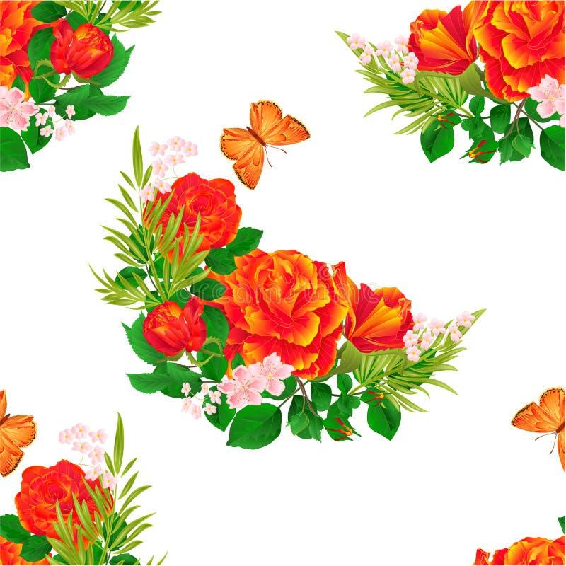 Las rosas anaranjadas de la textura inconsútil y el fondo festivo del vintage de la mariposa vector el ejemplo editable stock de ilustración