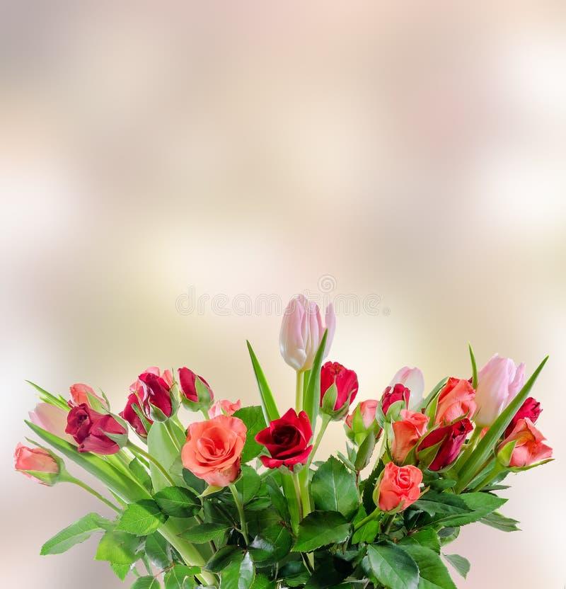 Las rosas blancas, anaranjadas, rojas y amarillas florecen, ramo, arreglo floral, fondo rosado del bokeh, aislado fotos de archivo libres de regalías