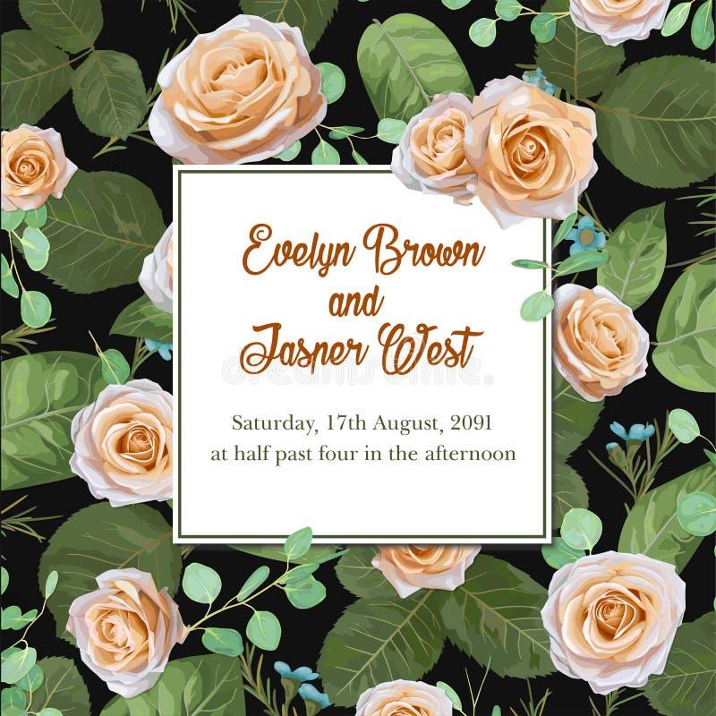 Las rosas de las flores y las hojas en colores pastel del eucalipto, acuarela, pueden ser u stock de ilustración