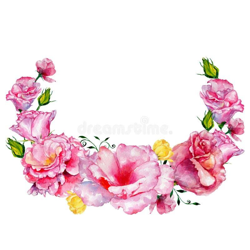 Las rosas del Wildflower florecen la guirnalda en un estilo de la acuarela libre illustration