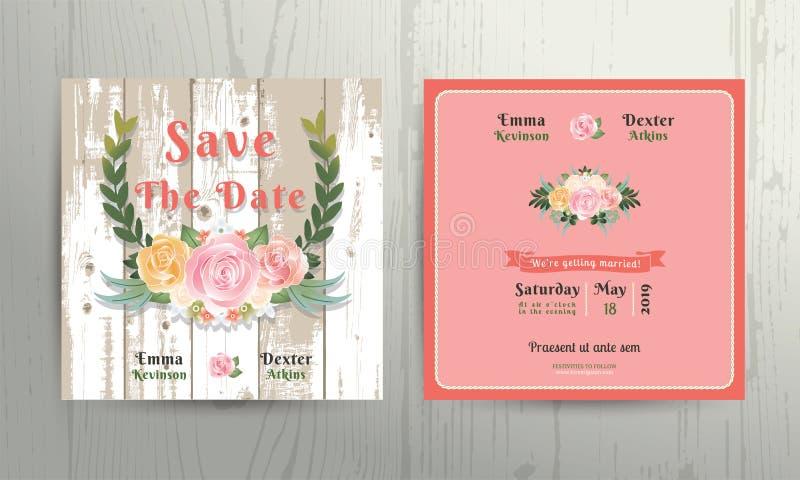 Las rosas florales enrruellan reserva la plantilla de la tarjeta de la invitación de la boda de la fecha stock de ilustración