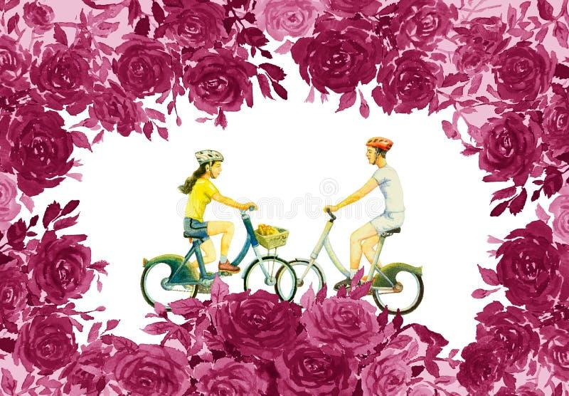 Las rosas florecen con el hombre joven, mujer, bicicleta del paseo stock de ilustración