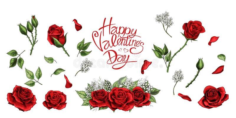 Las rosas rojas dan el sistema coloreado de los elementos exhaustos del ejemplo stock de ilustración