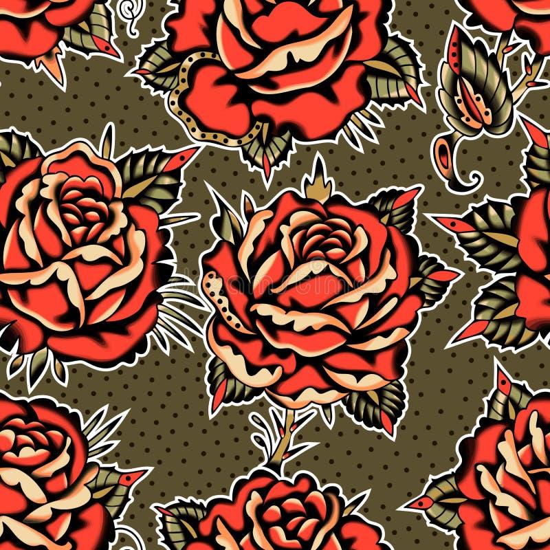 Las rosas tat?an el modelo stock de ilustración