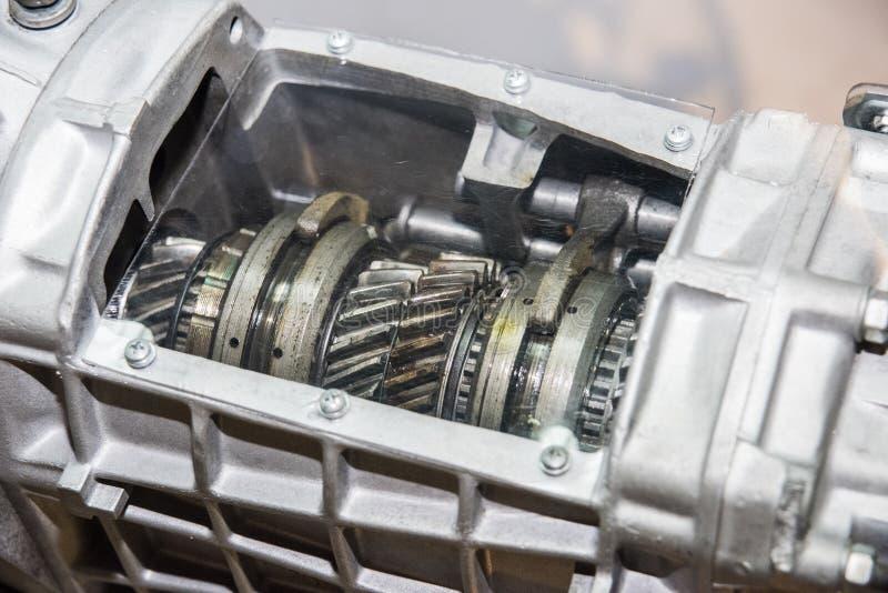 Las ruedas de engranajes del motor, se cierran encima de la visión Foto abstracta imagen de archivo