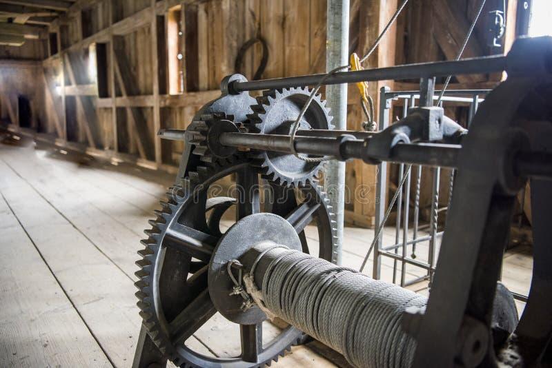 Las ruedas de engranajes del motor, se cierran encima de la visión Foto abstracta imagenes de archivo