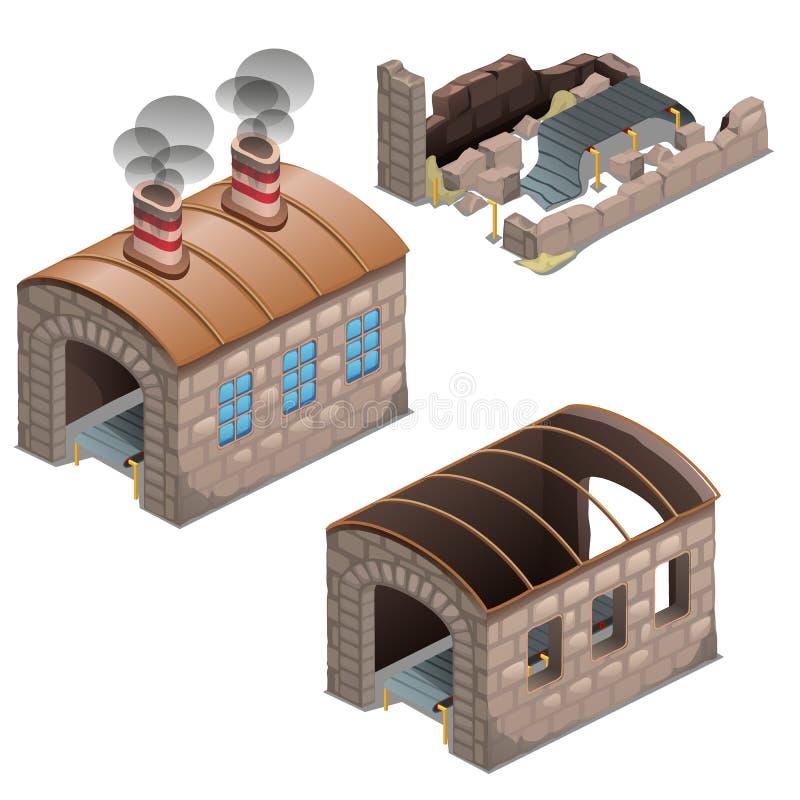 Las ruinas abandonadas de la fábrica saqueada vieja aislada en el fondo blanco El sistema de la etapa del proceso de la quiebra y ilustración del vector
